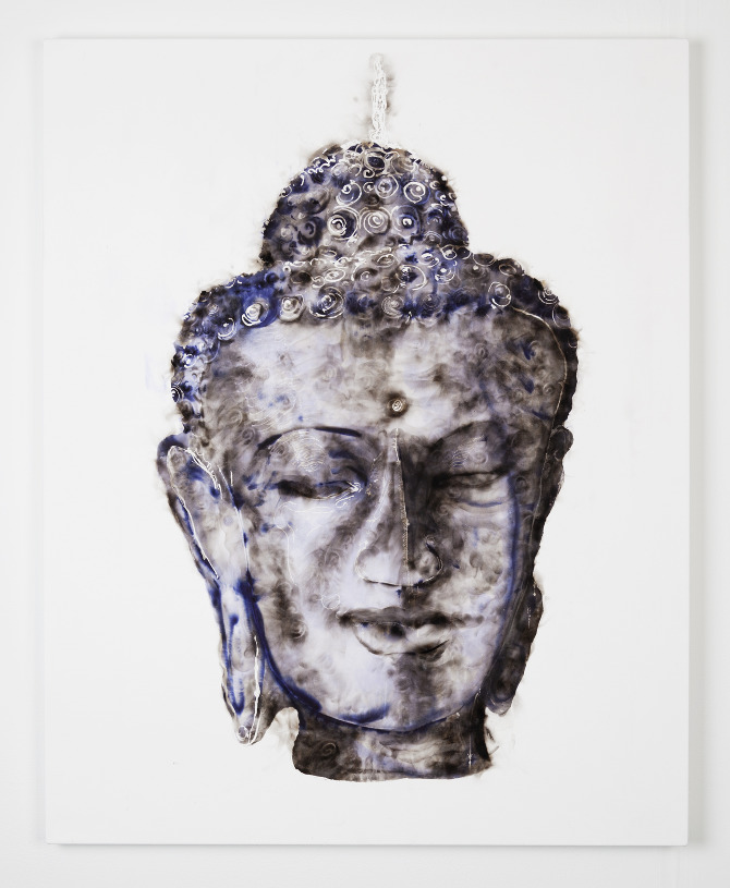 Sheila Gallagher's Buddha Candle, smoke on canvas (2012)