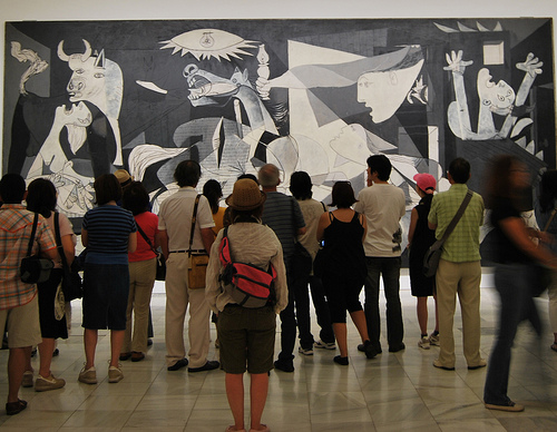 Guernica on display with audience