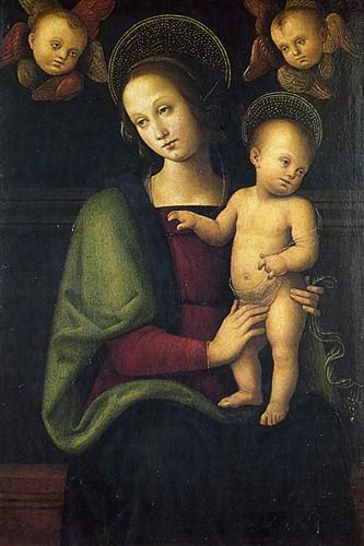 Madonna and Child with 2 Cherubs by Pietro Perugino