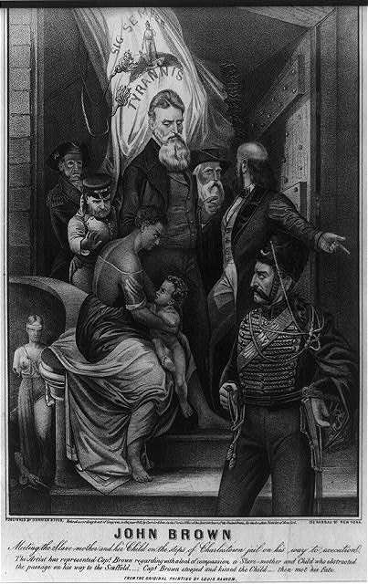 John Brown Meeting the Slave Mother and Her Child on the Steps of Charleston Jail on His Way to Execution.1863.Currier & Ives1