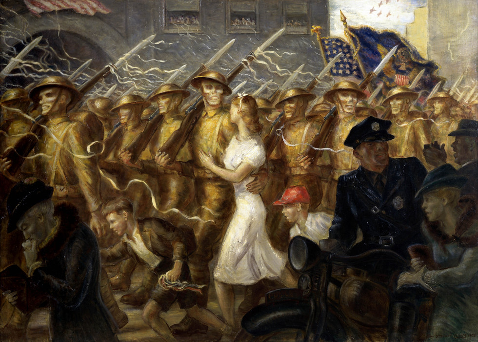 John Steuart Curry's Parade to War.1938
