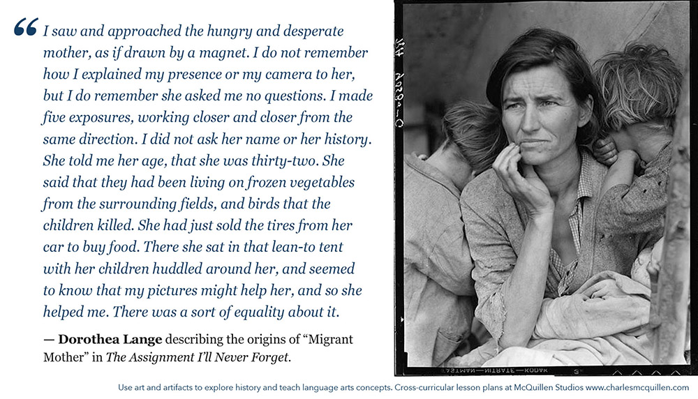 Dorothea Lange describing origins of Migrant Mother