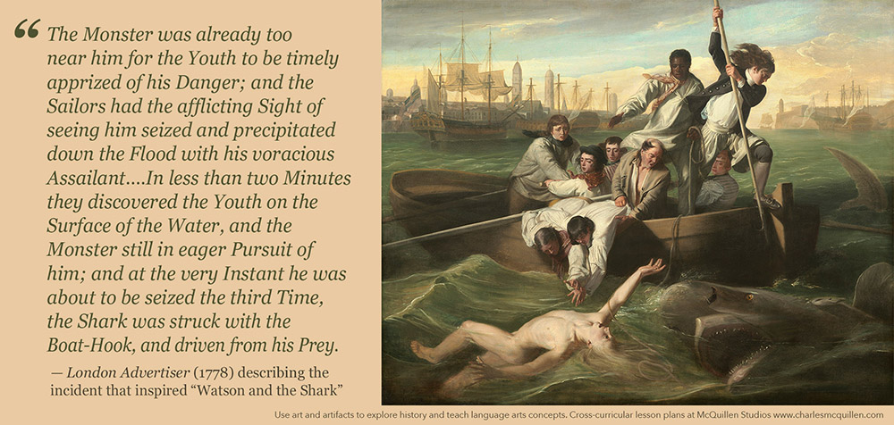 """An account from the London Advertiser describes the incident that inspired """"Watson and the Shark"""""""