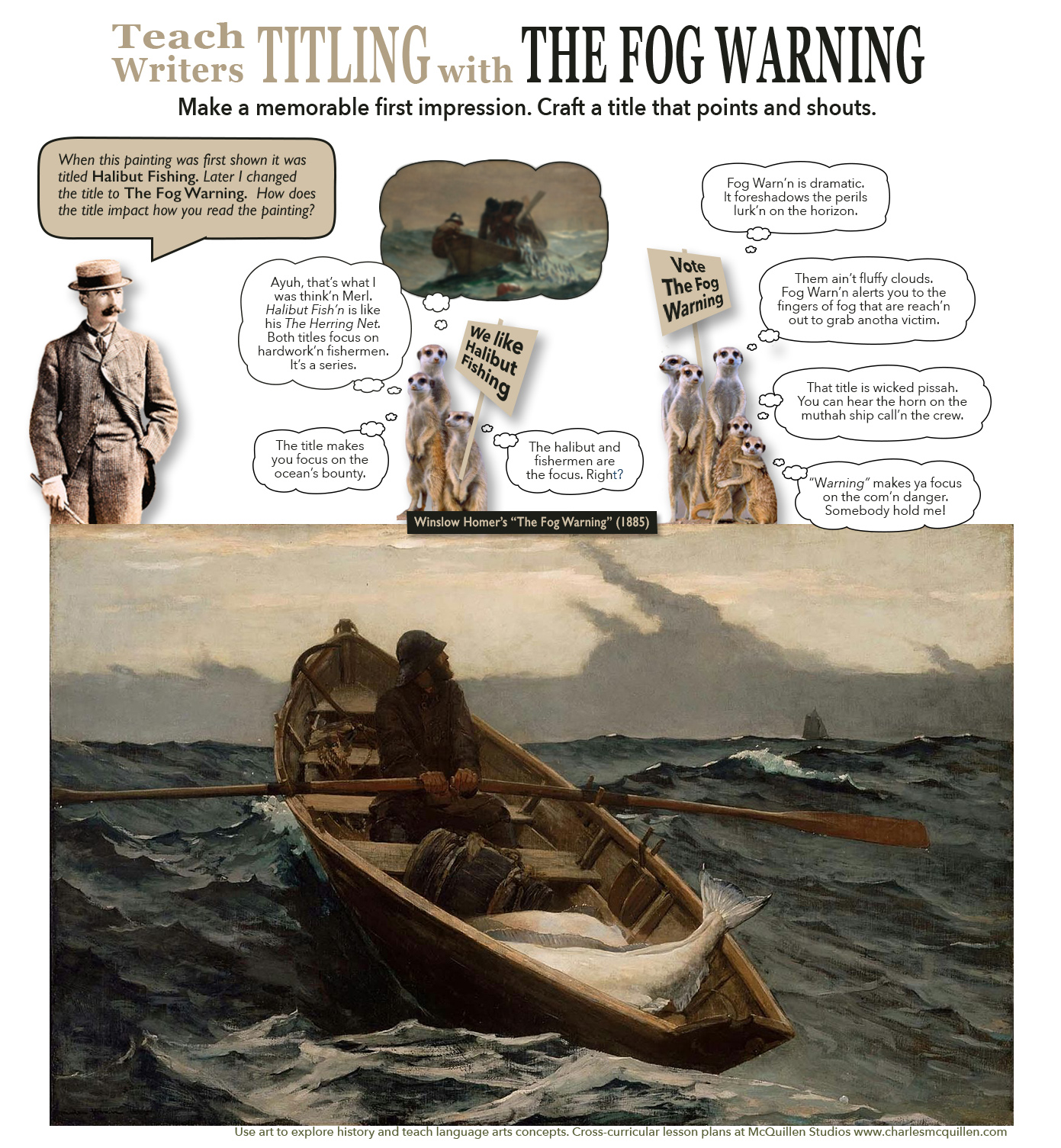 Use Winslow Homer's The Fog Warning to teach the importance of thoughtful titles